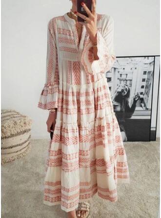 Print Long Sleeves/Flare Sleeves A-line Casual/Boho/Vacation Maxi Dresses