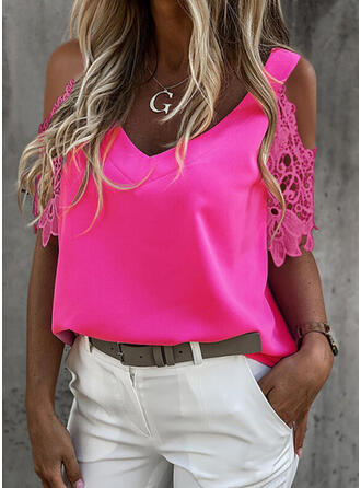 Solid Lace Cold Shoulder 1/2 Sleeves Elegant Blouses