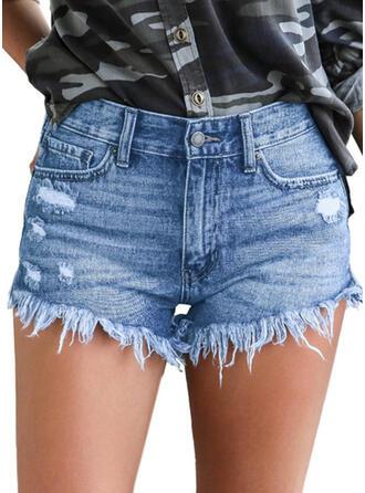 Ripped Tassel Denim Shorts
