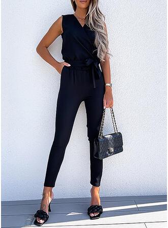 Solid V-Neck Sleeveless Elegant Jumpsuit