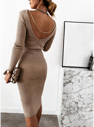 Solid Round Neck Long Tight Sexy Sweater Dress