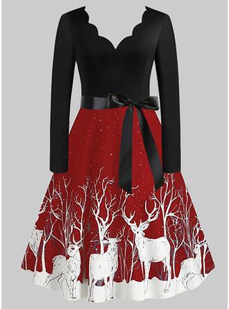Animal Print Long Sleeves A-line Knee Length Christmas/Party Skater Dresses