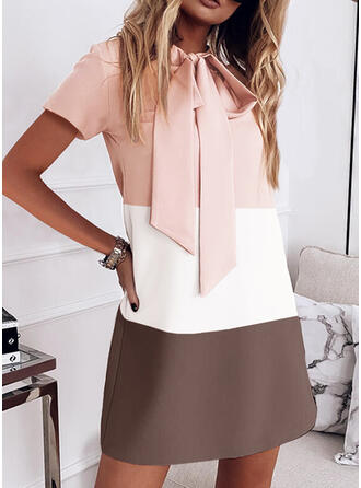 Color Block/Bowknot Short Sleeves Shift Above Knee Casual Tunic Dresses