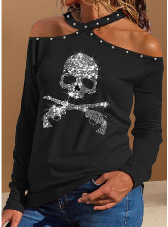 Asymmetrical Long Sleeves Cold Shoulder Sleeve Sexy Blouses