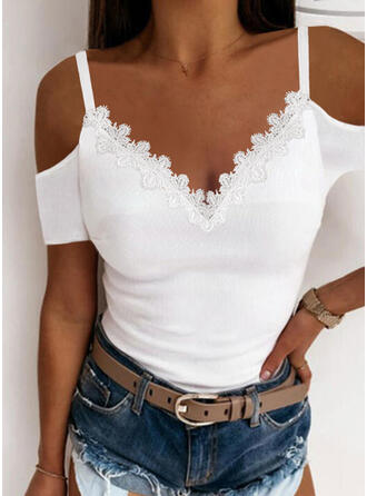 Solid Lace Cold Shoulder Short Sleeves Sexy Knit Blouses