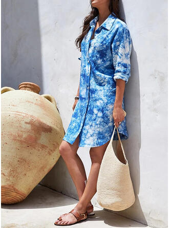 Solid Color High Neck Eye-catching Casual Tie-Dye Cover-ups Swimsuits