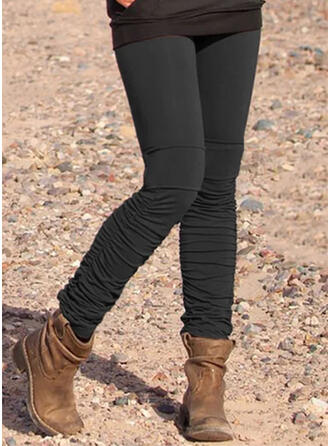 Solid Long Casual Vintage Plus Size Pocket Leggings