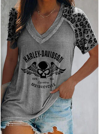 Figure Leopard Print V-Neck Short Sleeves T-shirts