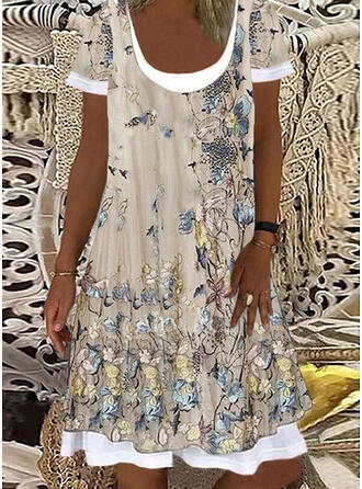 Print/Floral/Animal Print Short Sleeves Shift Knee Length Casual/Vacation Tunic Dresses