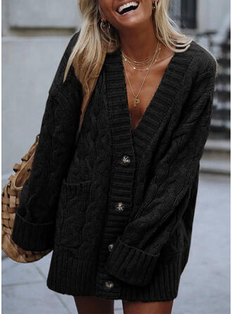 Solid Cable-knit Pocket V-Neck Casual Long Cardigan