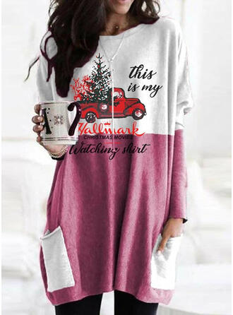 Print Color Block Pockets Letter Round Neck Long Sleeves Christmas Sweatshirt