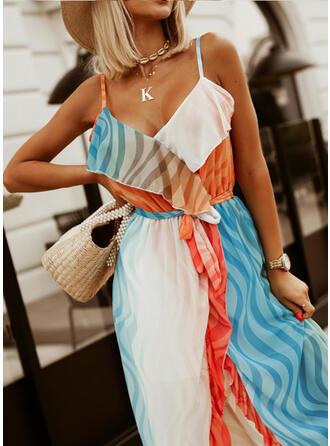 Striped Sleeveless Asymmetrical Party/Vacation Maxi Dresses