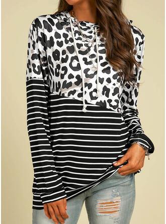 Striped Leopard Hooded Long Sleeves Hoodie