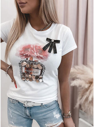 Figure Floral Sequins Round Neck Short Sleeves T-shirts