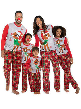 Deer Plaid Print Family Matching Christmas Pajamas Pajamas
