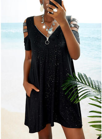 Sequins/Solid Short Sleeves Shift Above Knee Little Black/Casual Tunic Dresses