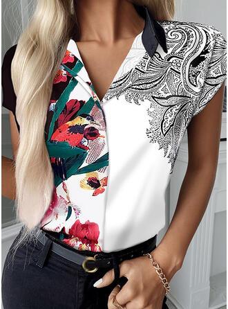 Floral Print Animal Lapel Short Sleeves T-shirts