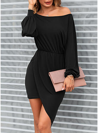 Solid Long Sleeves/Lantern Sleeve Bodycon Asymmetrical Little Black/Casual Dresses