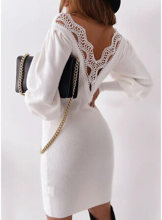 Lace/Solid Long Sleeves Bodycon Above Knee Casual/Elegant Sweater Dresses