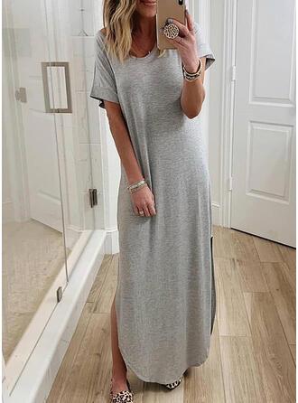 Solid Short Sleeves Shift T-shirt Casual Maxi Dresses