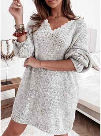Solid Lace/Knit Long Sleeves Dropped Shoulder Shift Above Knee Casual Sweater Dresses
