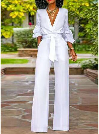 Solid V-Neck Long Sleeves Office/Business Jumpsuit