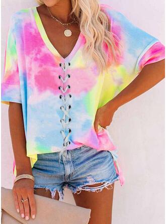 Print Tie Dye V-Neck 1/2 Sleeves T-shirts