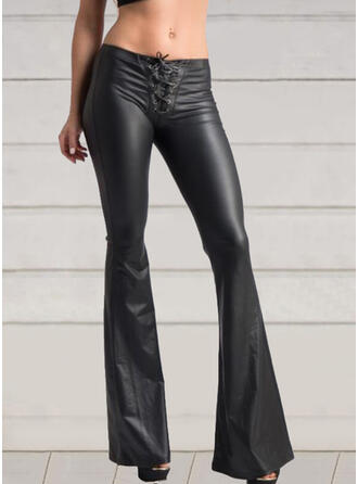 Solid Drawstring Long Sexy Skinny Leather Pants