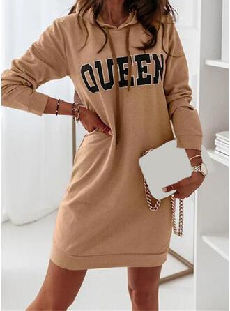 Print/Letter Long Sleeves Shift Above Knee Casual Sweatshirt Dresses