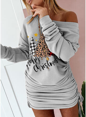 Print/Leopard Long Sleeves Bodycon Above Knee Christmas/Casual Sweatshirt Dresses