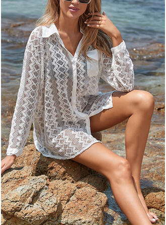 Solid Color Long Sleeve High Neck Classic Attractive Casual Cover-ups Swimsuits