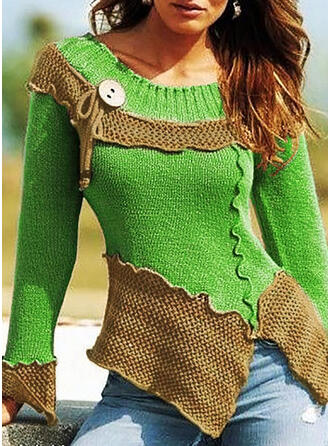 Color Block Chunky knit Round Neck Sweaters