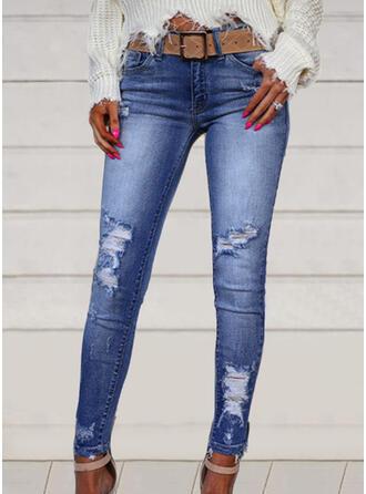 Plus Size Ripped Elegant Sexy Denim & Jeans