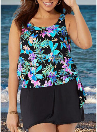 Leaves Print Strap Elegant Plus Size Tankinis Swimsuits