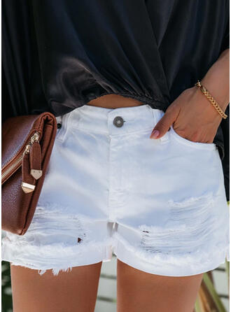 Solid Plus Size Ripped Casual Sexy Shorts Denim & Jeans