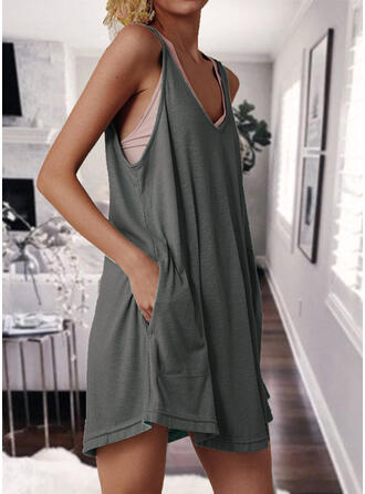 Solid/Backless Sleeveless Shift Above Knee Casual Tank Dresses