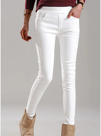 Solid Cropped Elegant Plus Size Pocket Shirred Pants