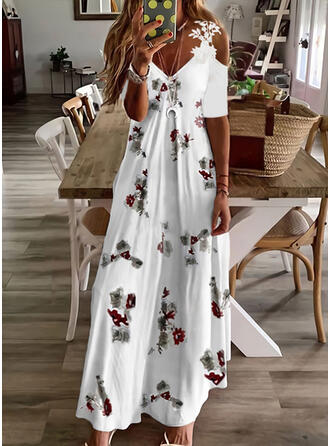 Print/Floral Lace 1/2 Sleeves Cold Shoulder Sleeve A-line Skater Casual Maxi Dresses