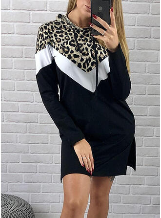 Color Block/Leopard Long Sleeves Shift Above Knee Casual Sweatshirt Dresses