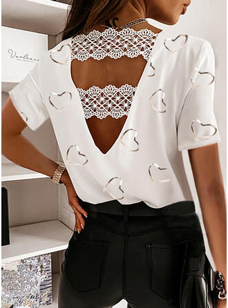 Print Lace Backless Heart Round Neck Short Sleeves Casual Blouses