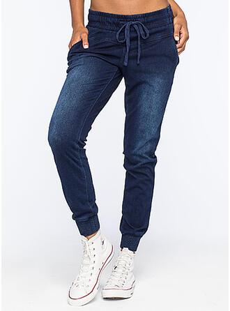 Solid Denim Long Casual Sporty Plus Size Pocket Drawstring Denim & Jeans