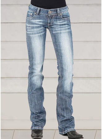 Shirred Plus Size Elegant Skinny Denim & Jeans