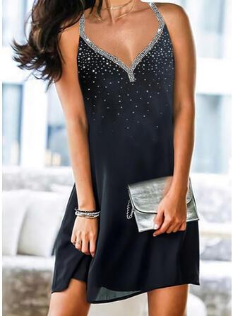 Print/Sequins Sleeveless Shift Above Knee Elegant Dresses