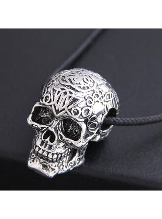 Skull Halloween Alloy Braided Rope Necklaces