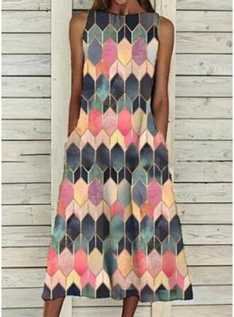 Print/Geometric Sleeveless Shift Casual Midi Dresses