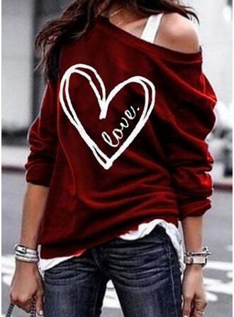 Print One Shoulder Long Sleeves Sweatshirt