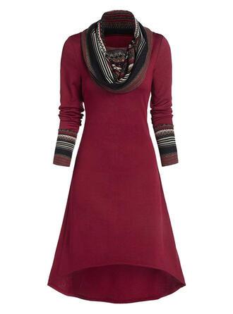 Print Long Sleeves A-line Skater Christmas/Casual Midi Dresses
