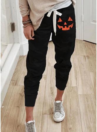Print Drawstring Halloween Cropped Casual Pants