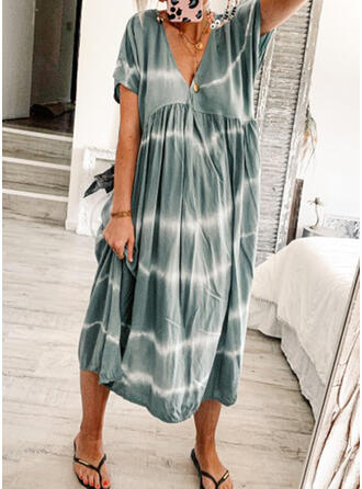 Tie Dye Short Sleeves Shift Casual Midi Dresses