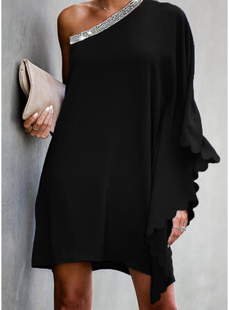 Sequins/Solid Long Sleeves/Batwing Sleeves Shift Above Knee Little Black/Casual/Party Dresses